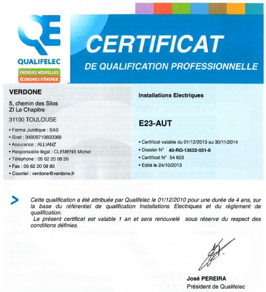 verdone - nos certifications